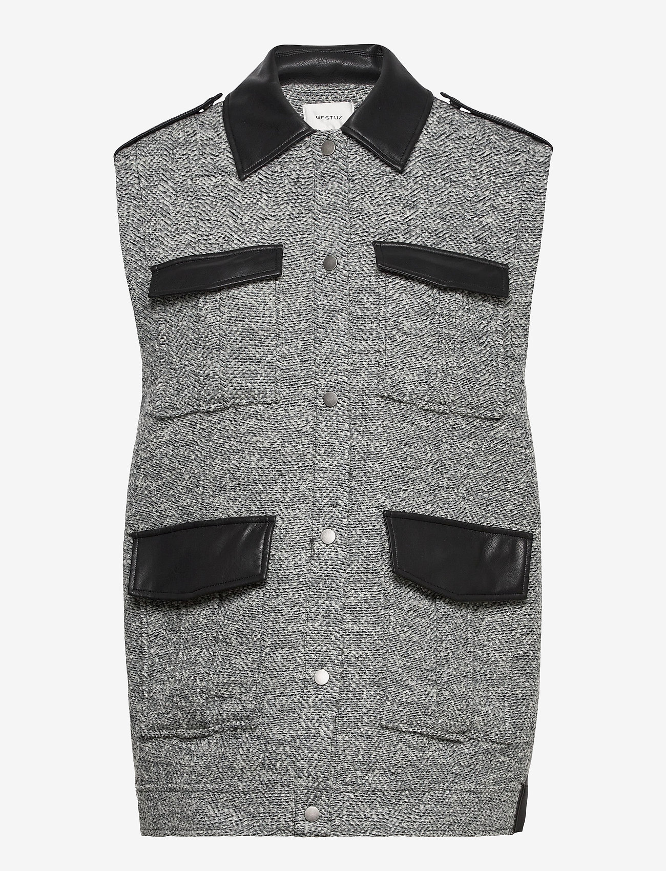 Gestuz - LucilaGZ waistcoat - vatteret veste - herringbone dusty green - 1