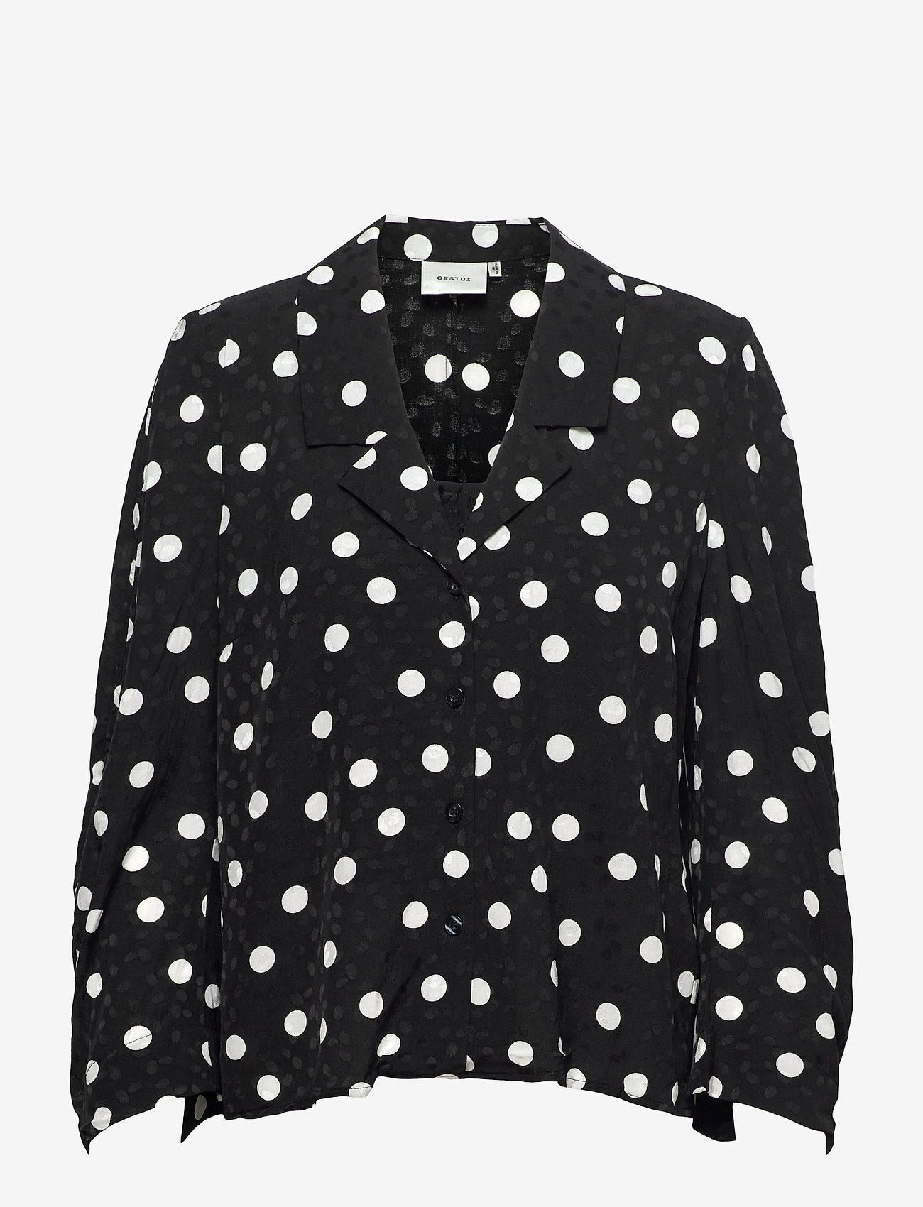 Gestuz - FjolaGZ duo shirt - langærmede bluser - black w/grey dot - 1