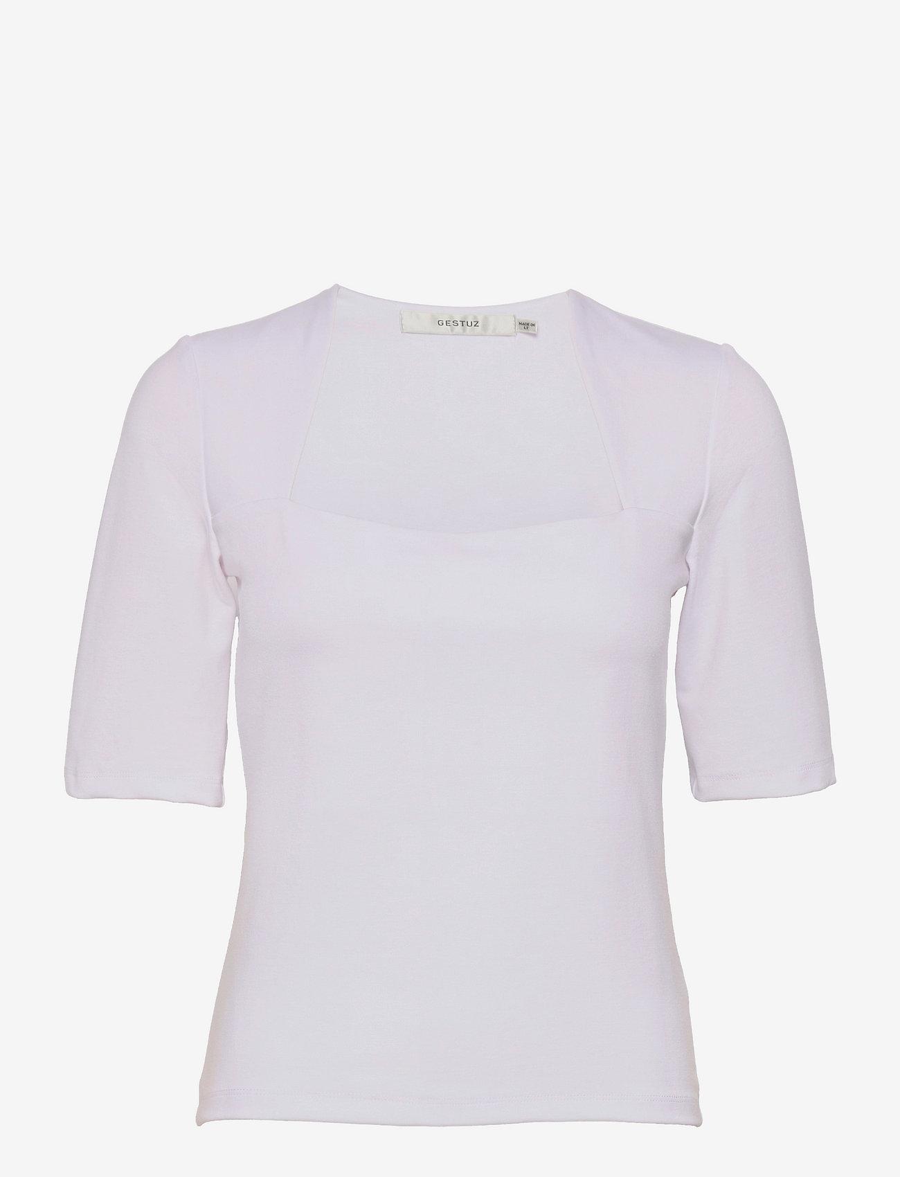 Gestuz - MalbaGZ squareneck tee - t-shirts - bright white - 1