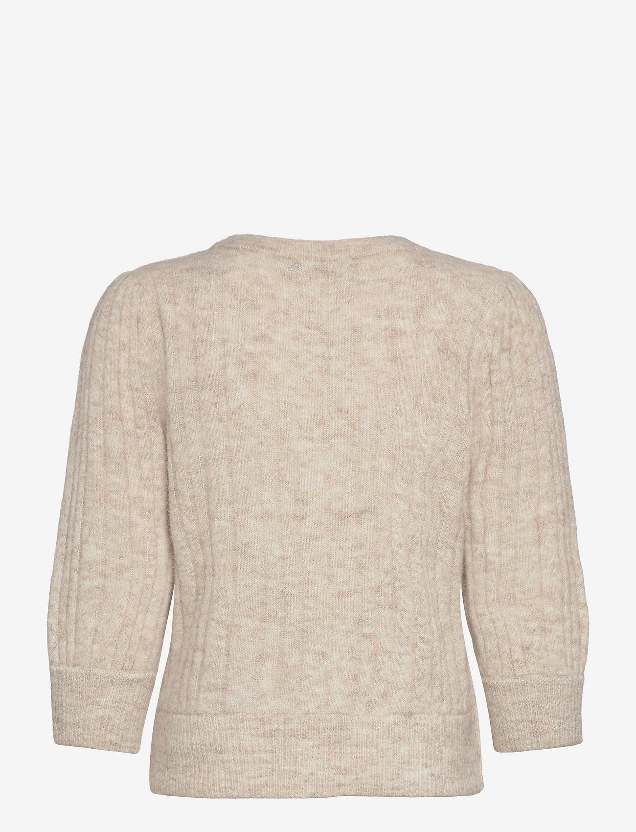 Gestuz - AlphaGZ R ss pullover - tröjor - white sand melange - 1