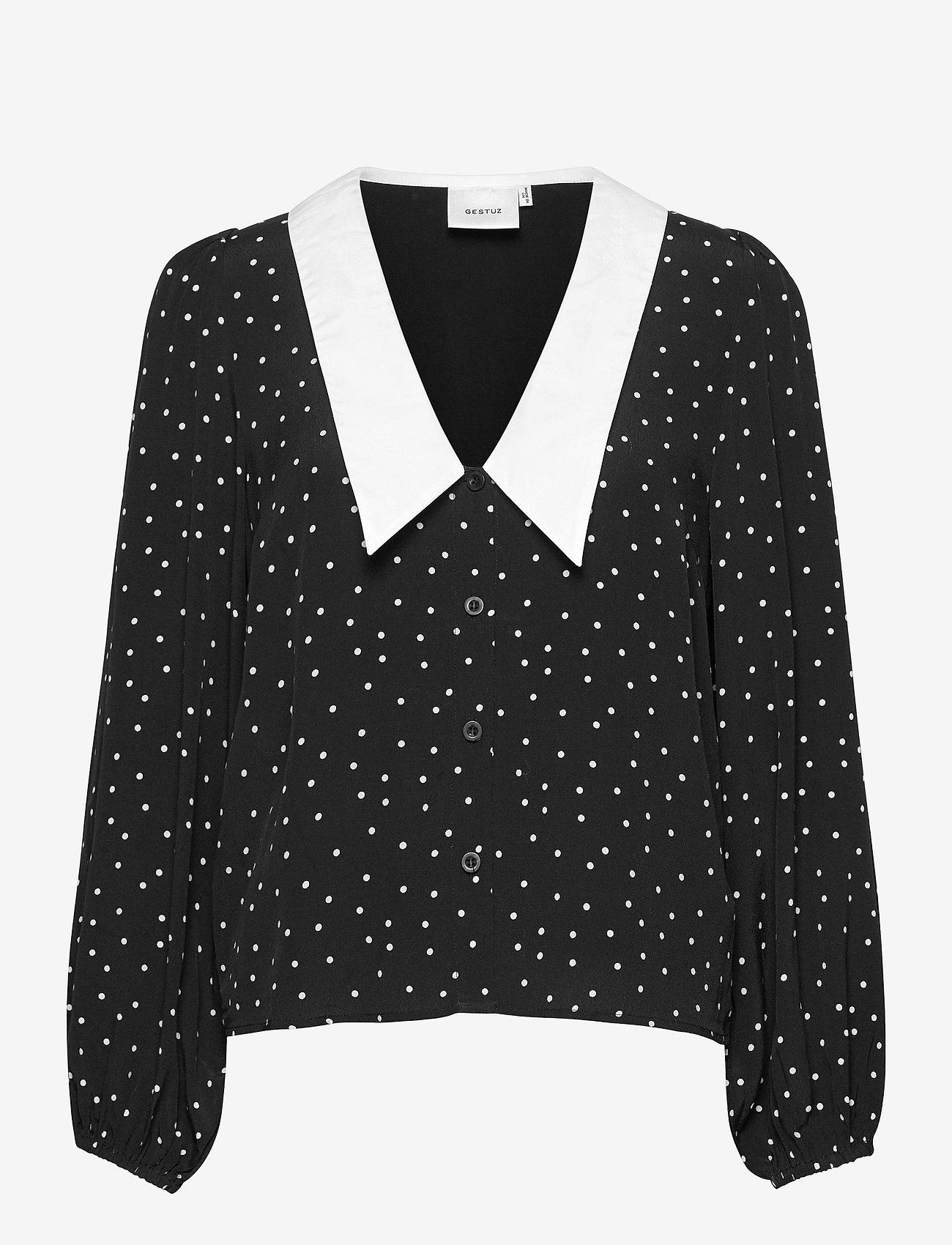 Gestuz - KatlaGZ ls shirt - langærmede skjorter - black w. white dot - 1