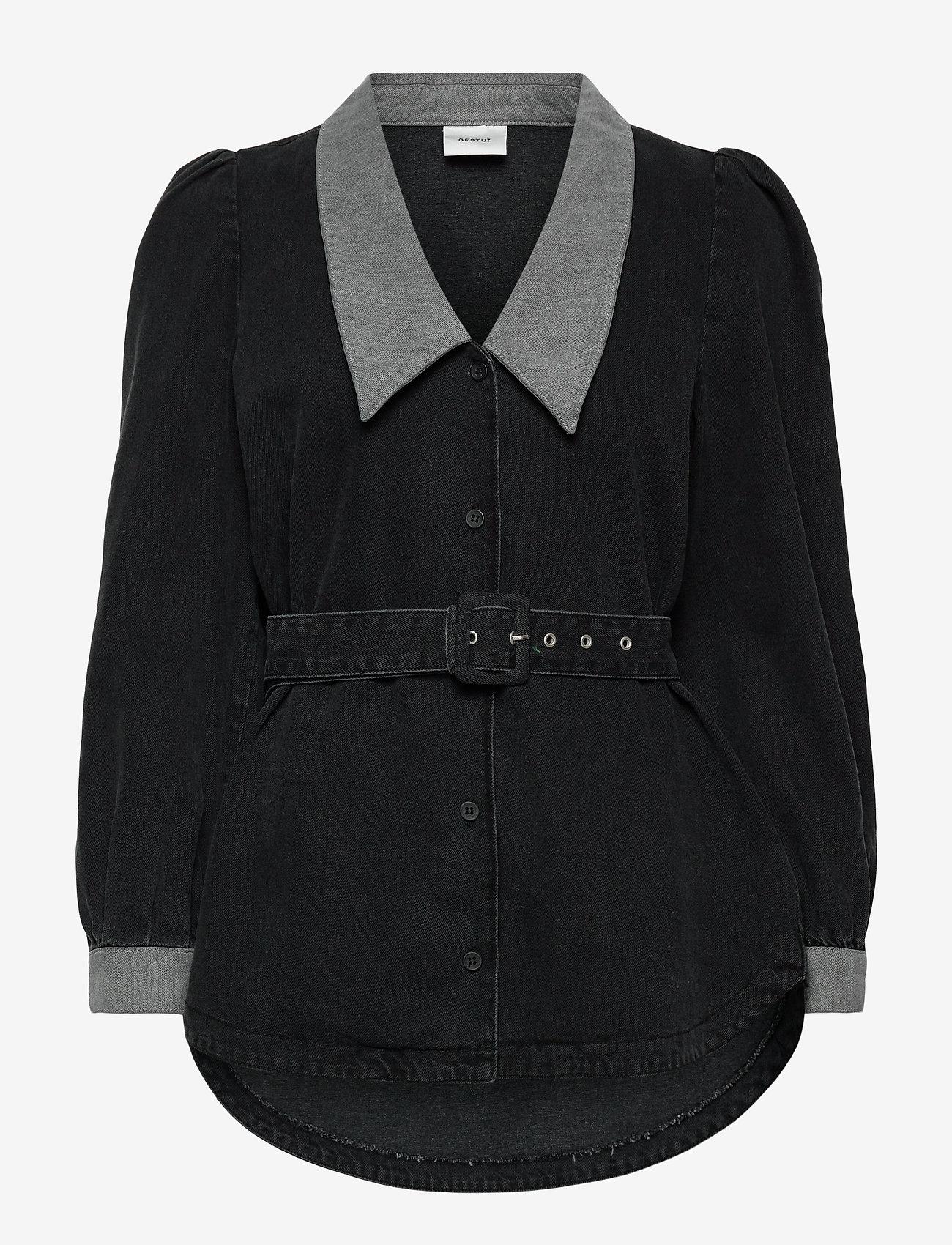 Gestuz - VakaGZ V-neck shirt - langærmede skjorter - washed grey - 1