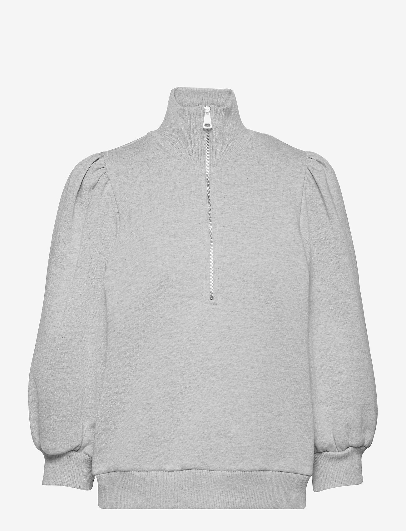 Gestuz - NankitaGZ ss zipper sweatshirt - sweatshirts & hoodies - light grey melange - 1
