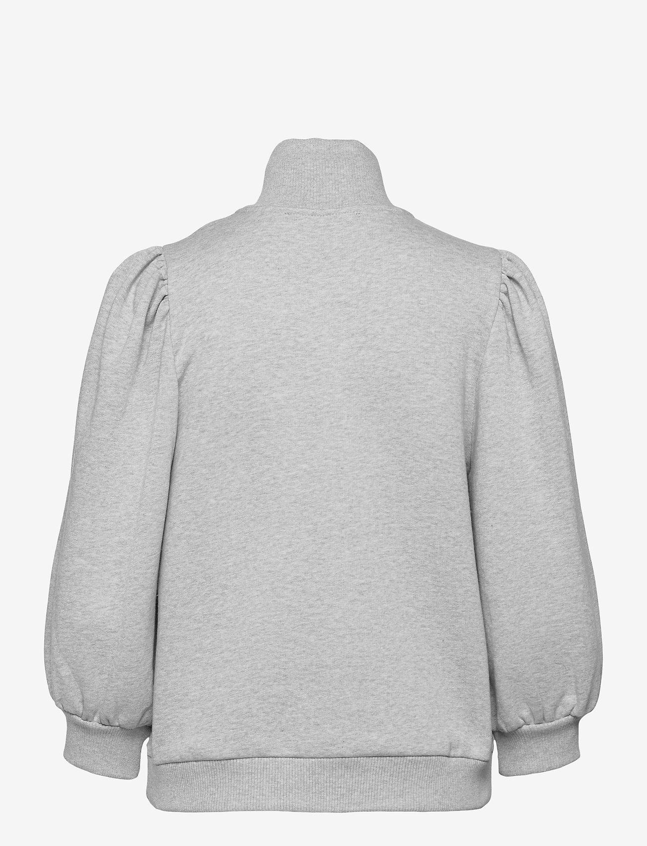 Gestuz - NankitaGZ ss zipper sweatshirt - sweatshirts & hoodies - light grey melange - 2