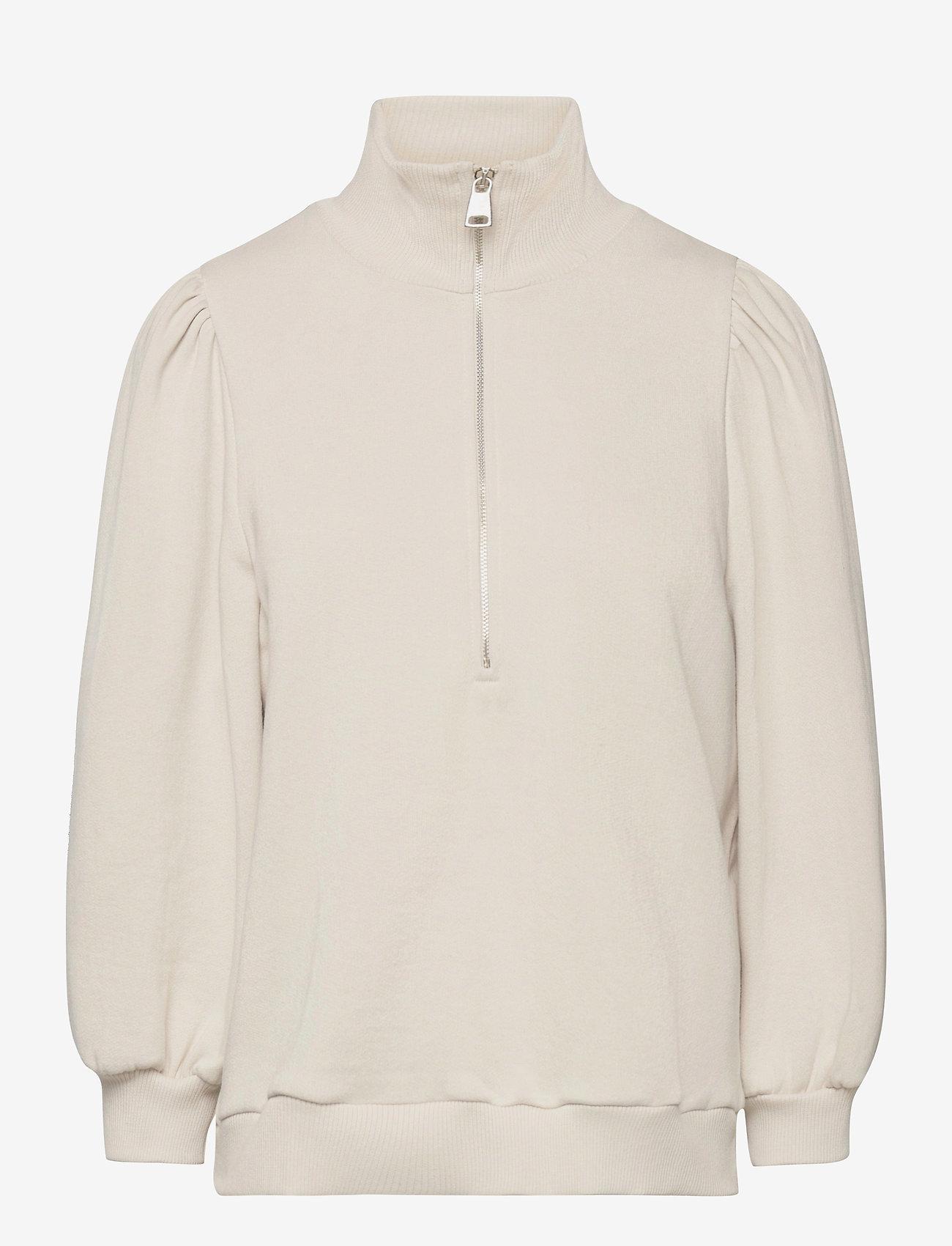 Gestuz - NankitaGZ ss zipper sweatshirt - sweatshirts & hoodies - moonbeam - 1