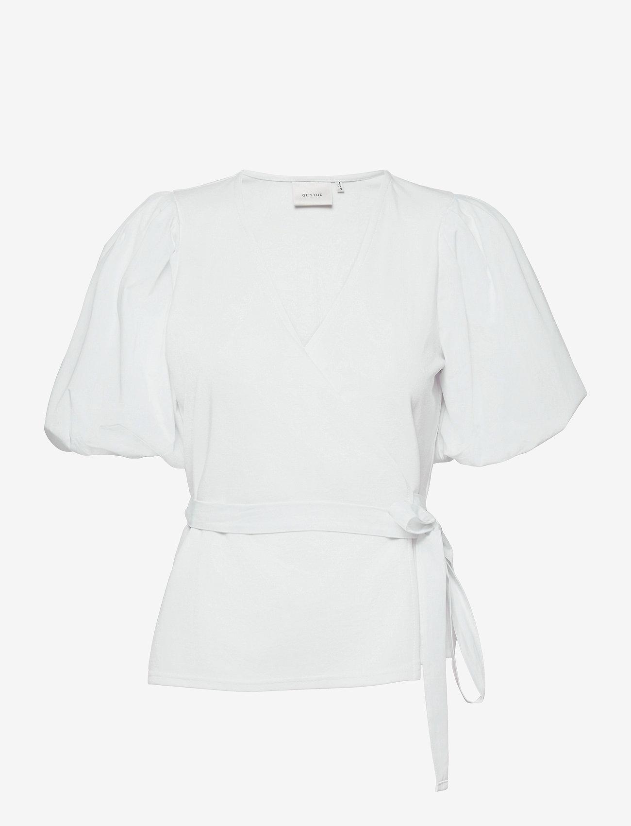 Gestuz - NemaGZ wrap blouse - kortærmede bluser - bright white - 1