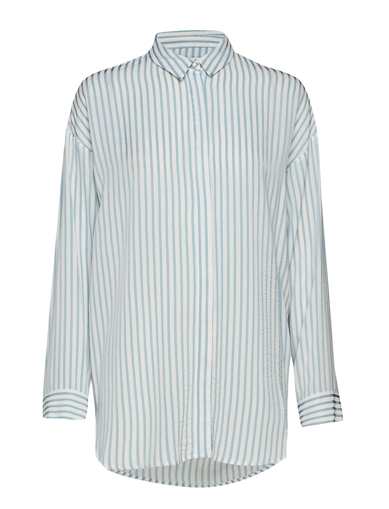 Gestuz Shay shirt SO19 - WHITE W. BLUE STRIPES