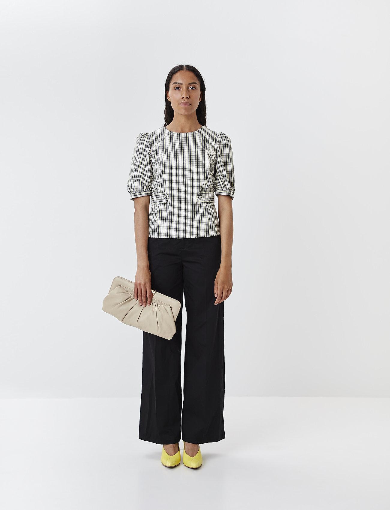 Gestuz - ElionaGZ blouse MS20 - short-sleeved blouses - lime light check - 0