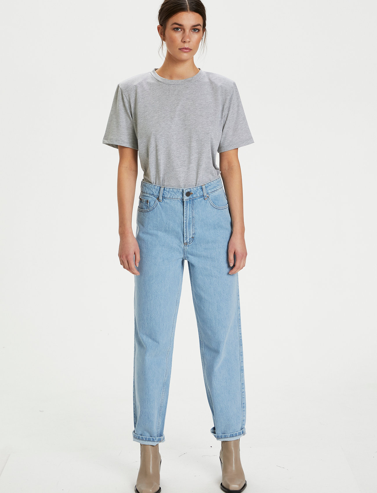 Gestuz - JoryGZ tee - t-shirts - grey melange - 4
