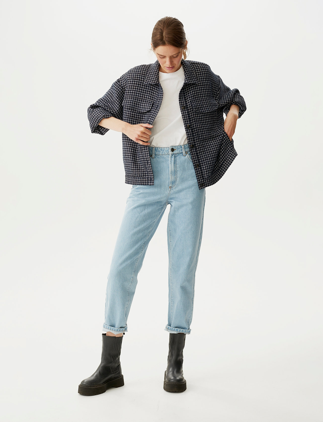 Gestuz - CleaGZ jacket SO21 - wool jackets - navy/white check - 0