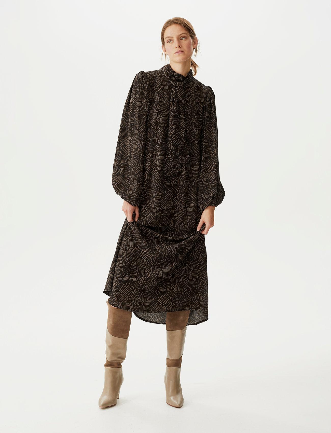 Gestuz - TikaGZ midi dress SO21 - midi kjoler - brown strokes - 0