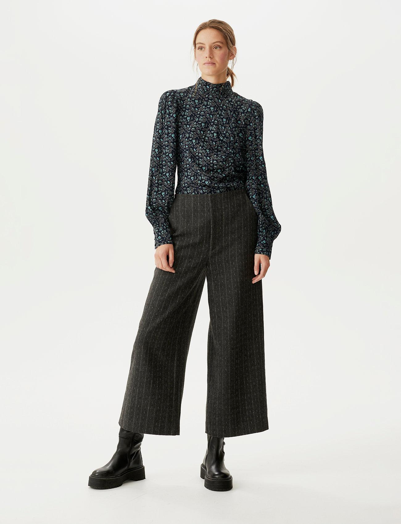 Gestuz - RoyaGZ culotte SO21 - bukser med brede ben - dark grey pinstripe - 0