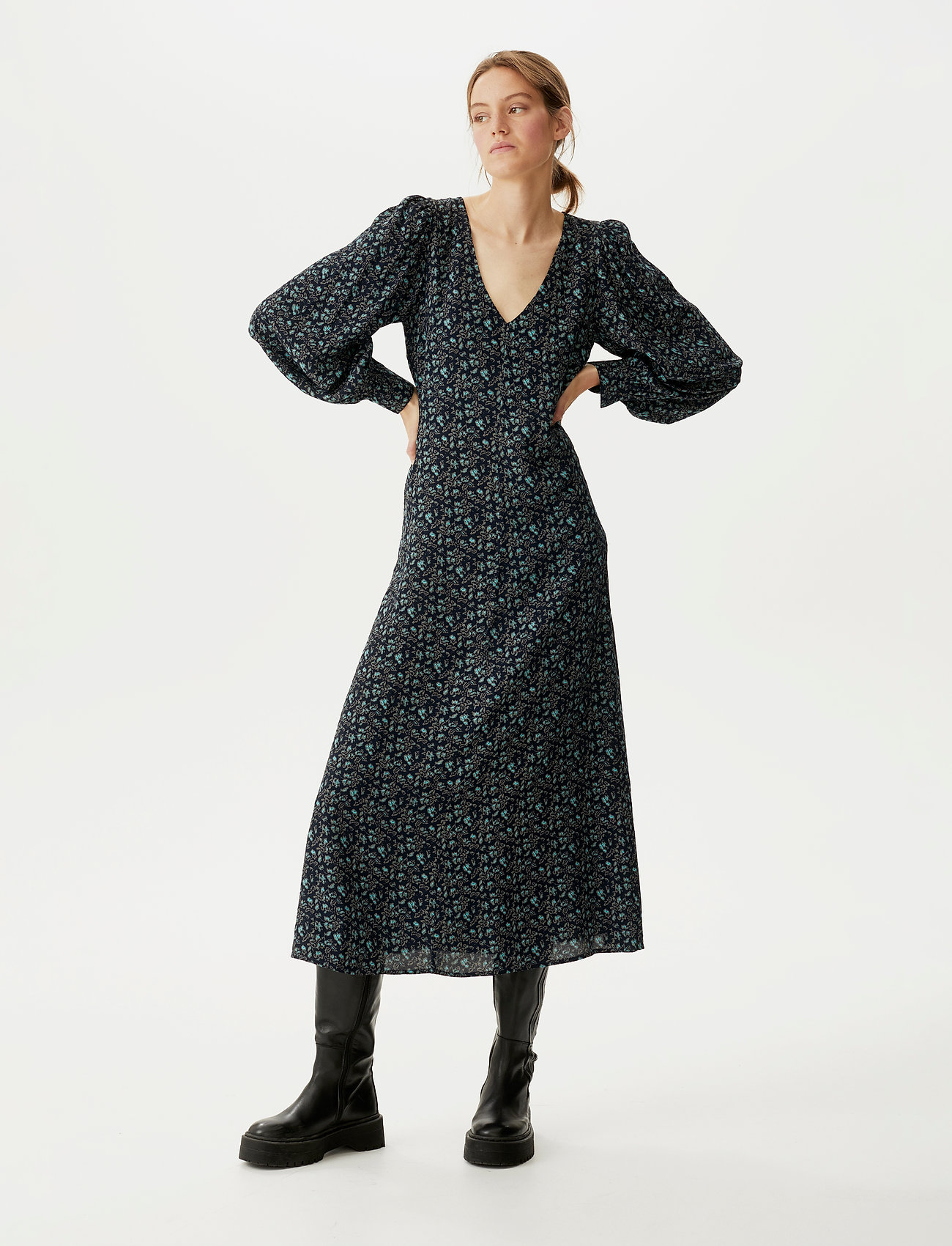 Gestuz - LoraliGZ V-neck dress SO21 - midi kjoler - aqua flower - 0