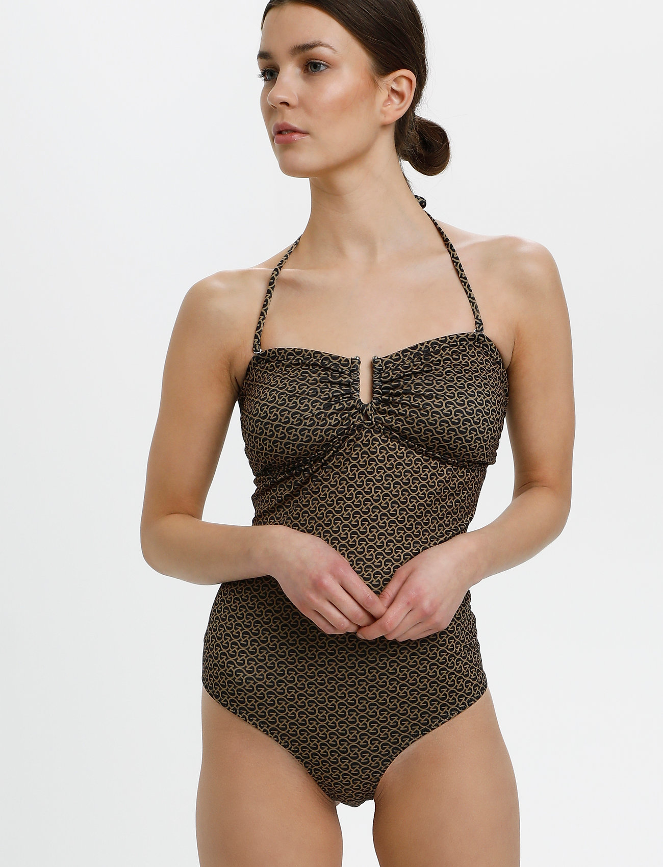Gestuz - KellyGZ open bk swimsuit - badedragter - brown logo - 0