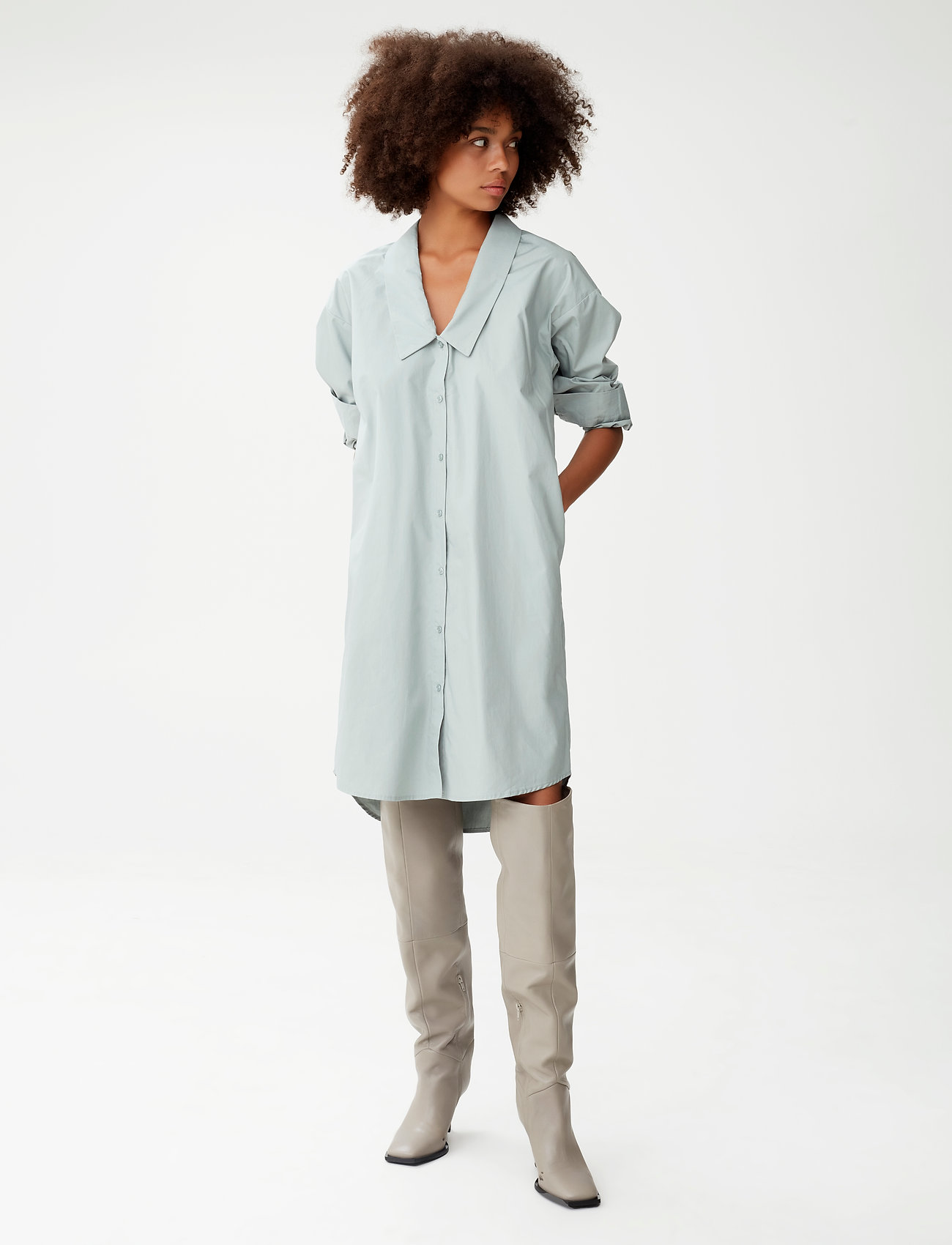 Gestuz - JilanGZ shirt dress MS21 - hverdagskjoler - slate gray - 0