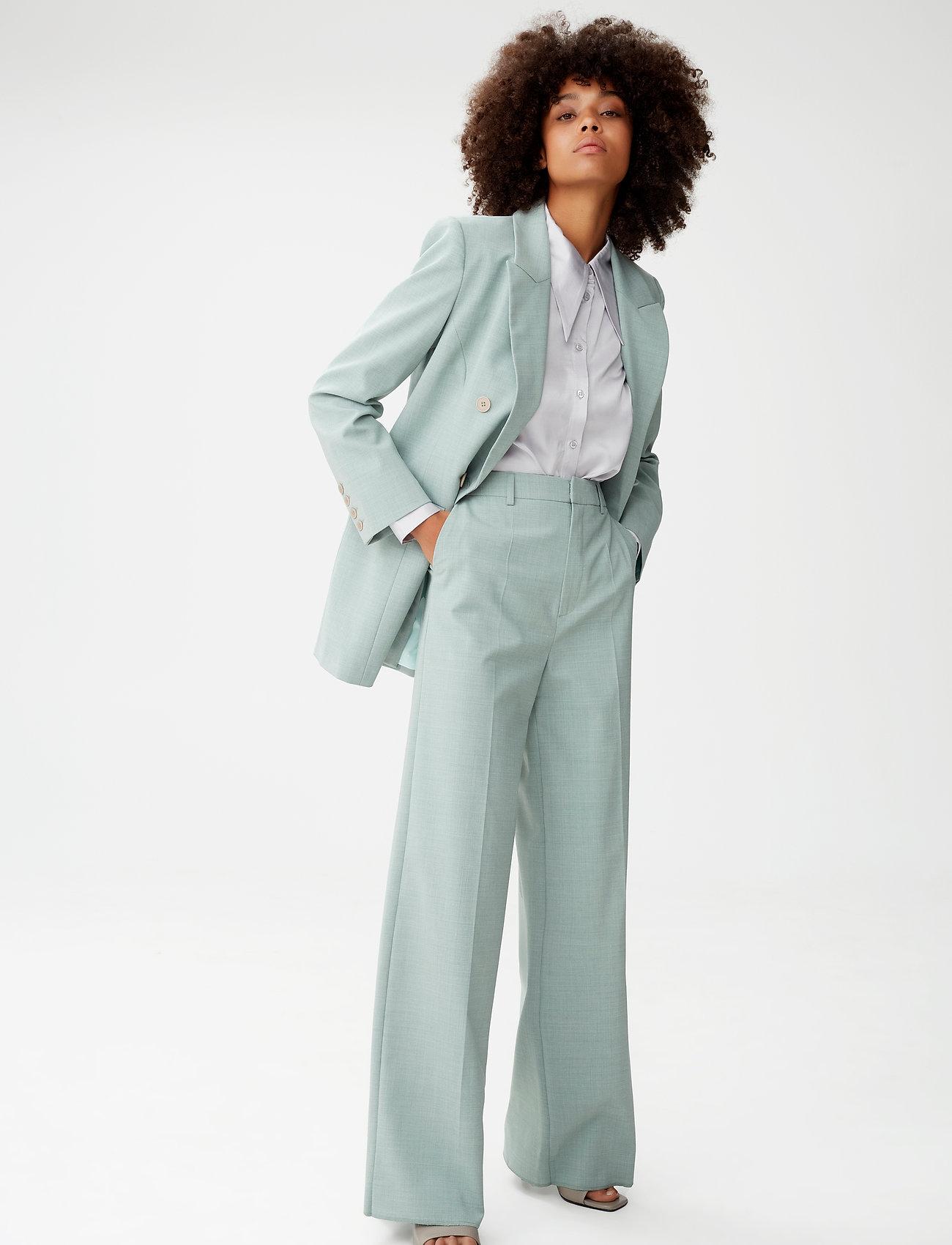 Gestuz - AmaliGZ HW wide pants - bukser med brede ben - slate gray - 0
