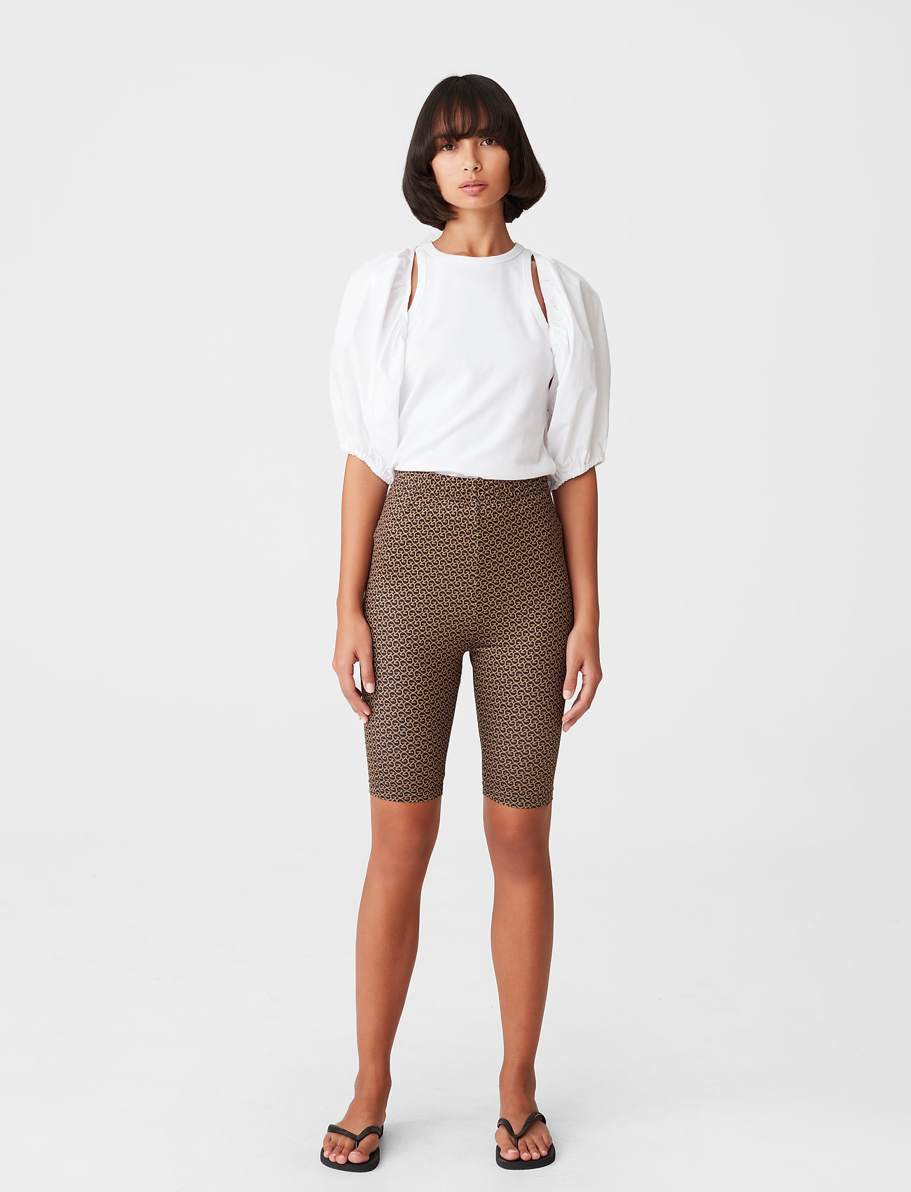 Gestuz - PiloGZ MW printed short tights - cykelshorts - brown logo - 0