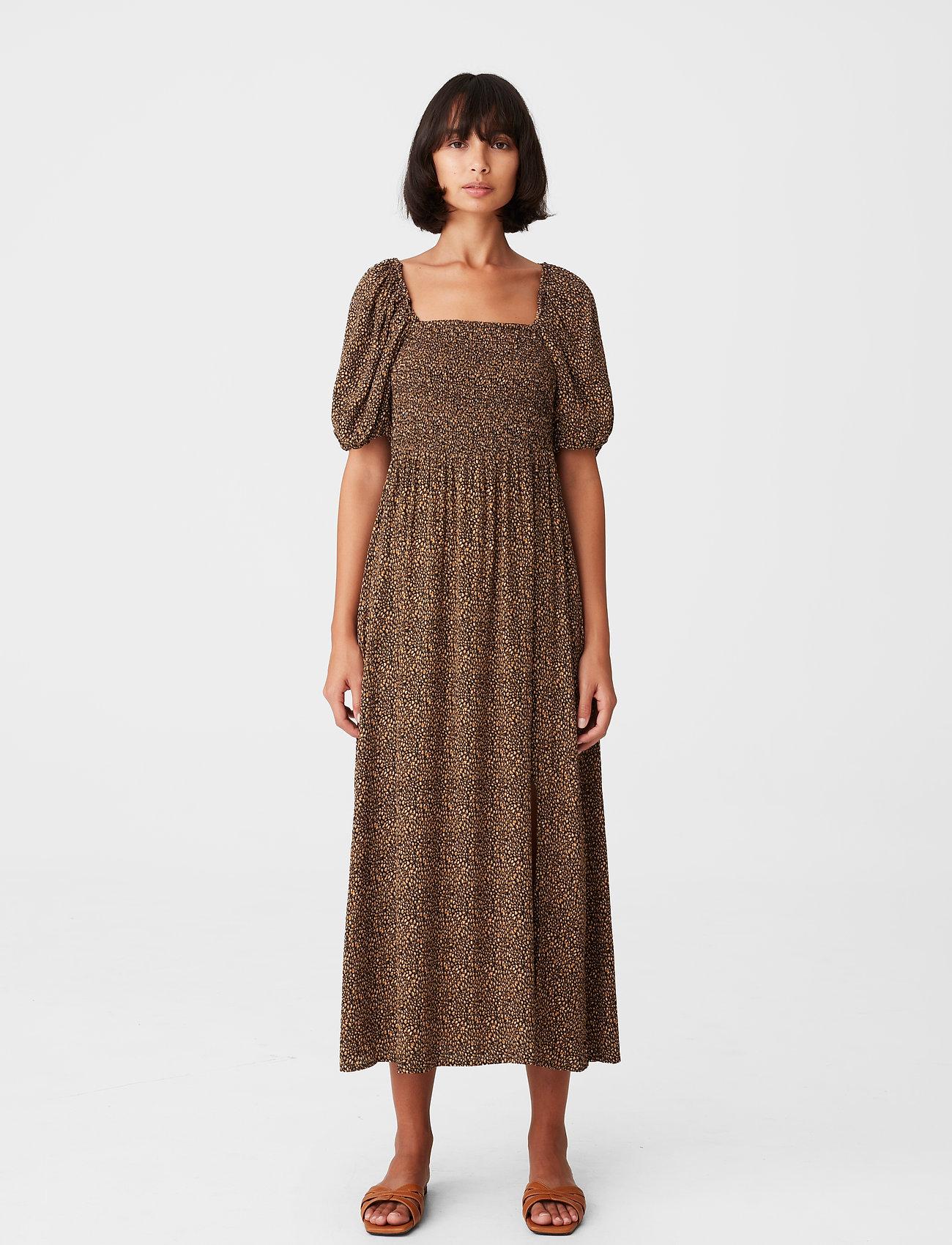 Gestuz - LifGZ long dress - sommerkjoler - brown mini leo - 0