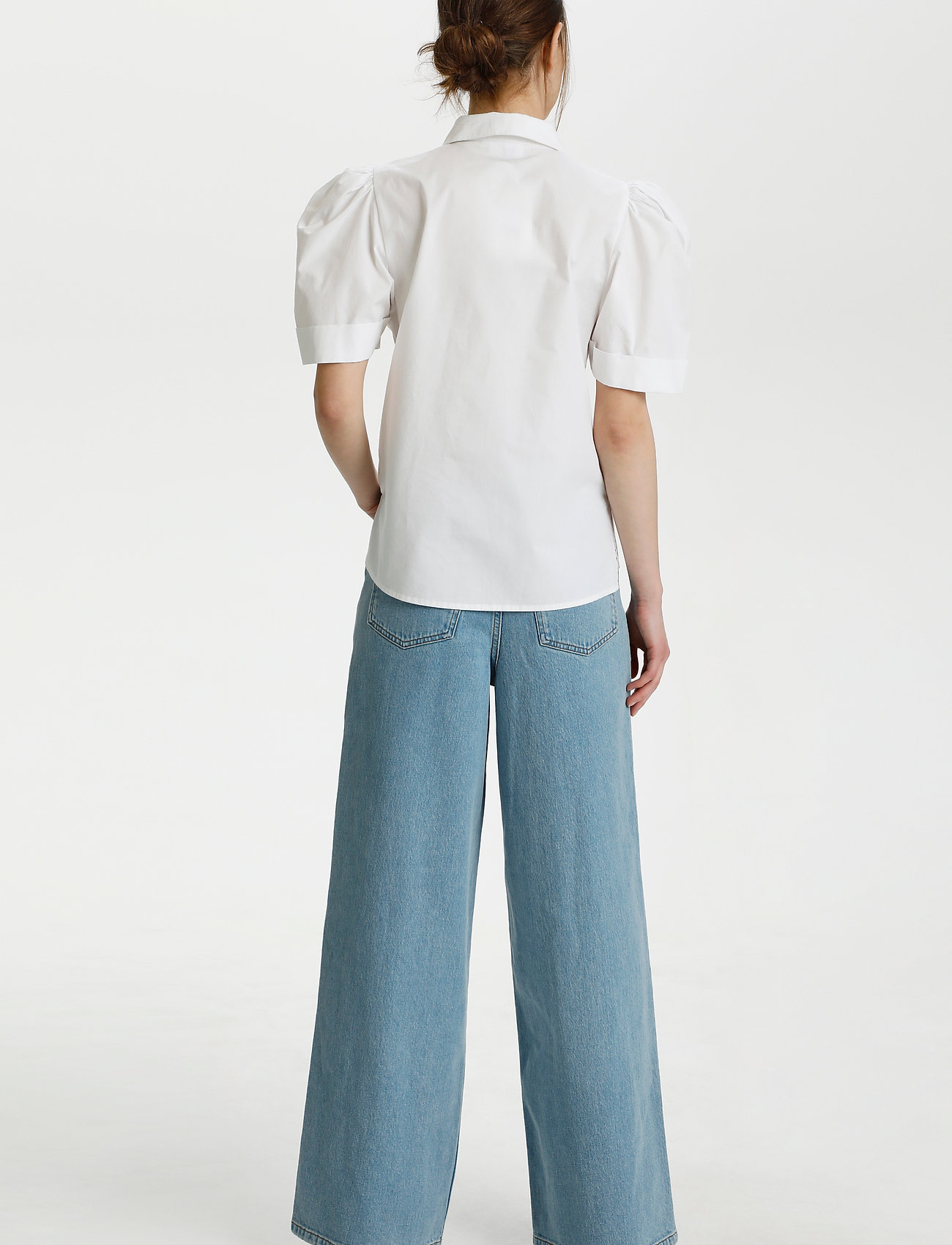 Gestuz - HalioGZ ss shirt - denimskjorter - bright white - 4