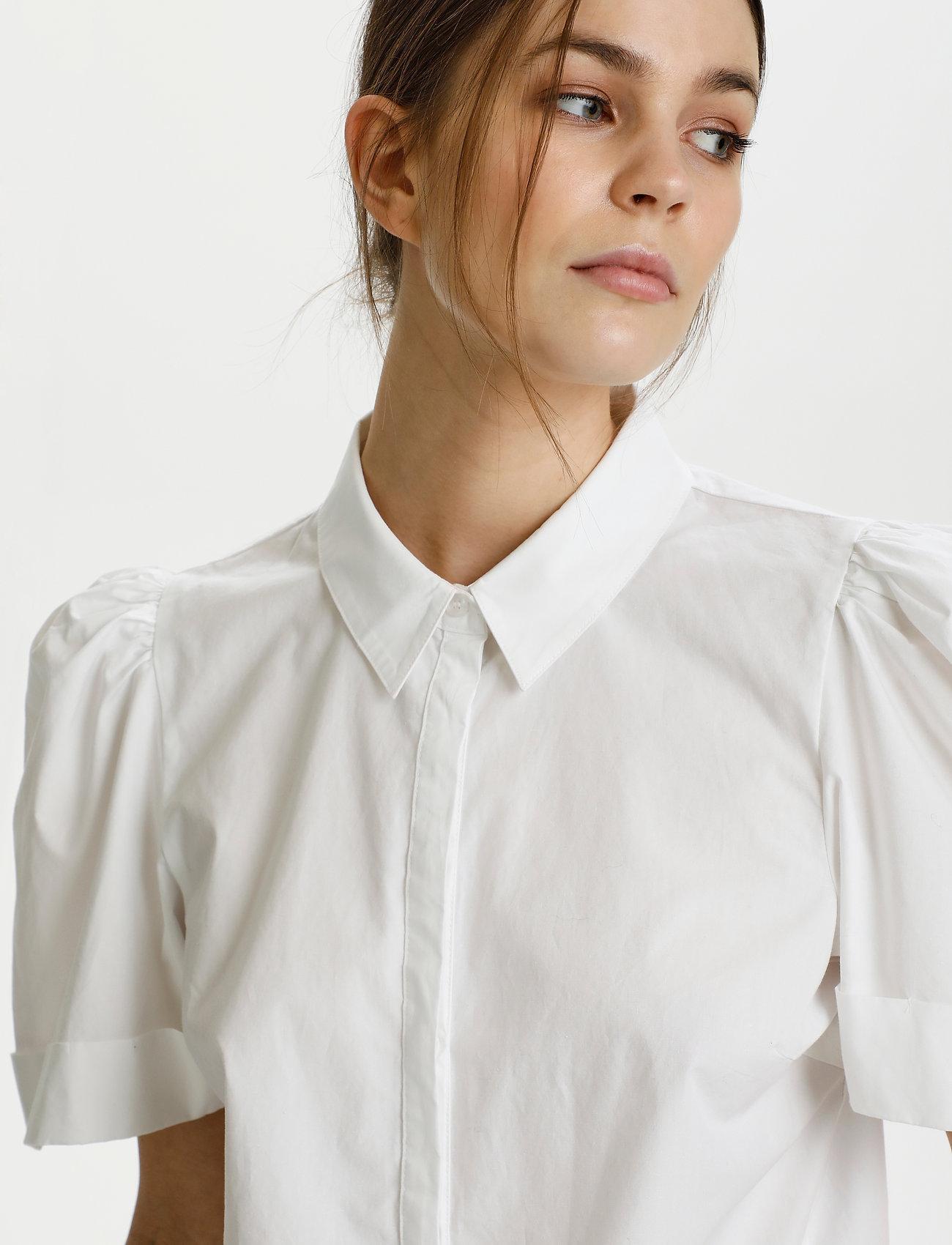 Gestuz - HalioGZ ss shirt - denimskjorter - bright white - 5