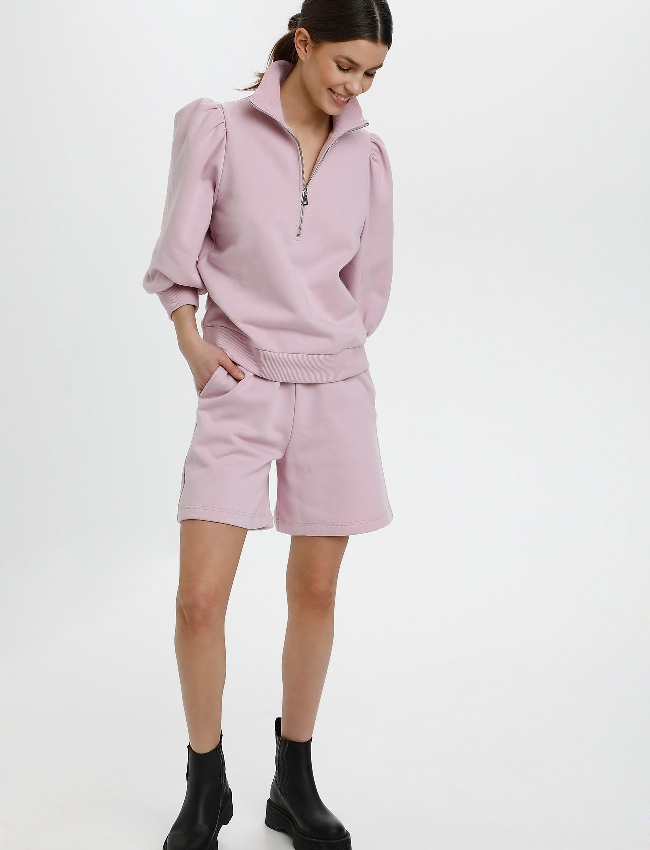 Gestuz - NankitaGZ ss zipper sweatshirt - sweatshirts & hoodies - fragrant lilac - 3