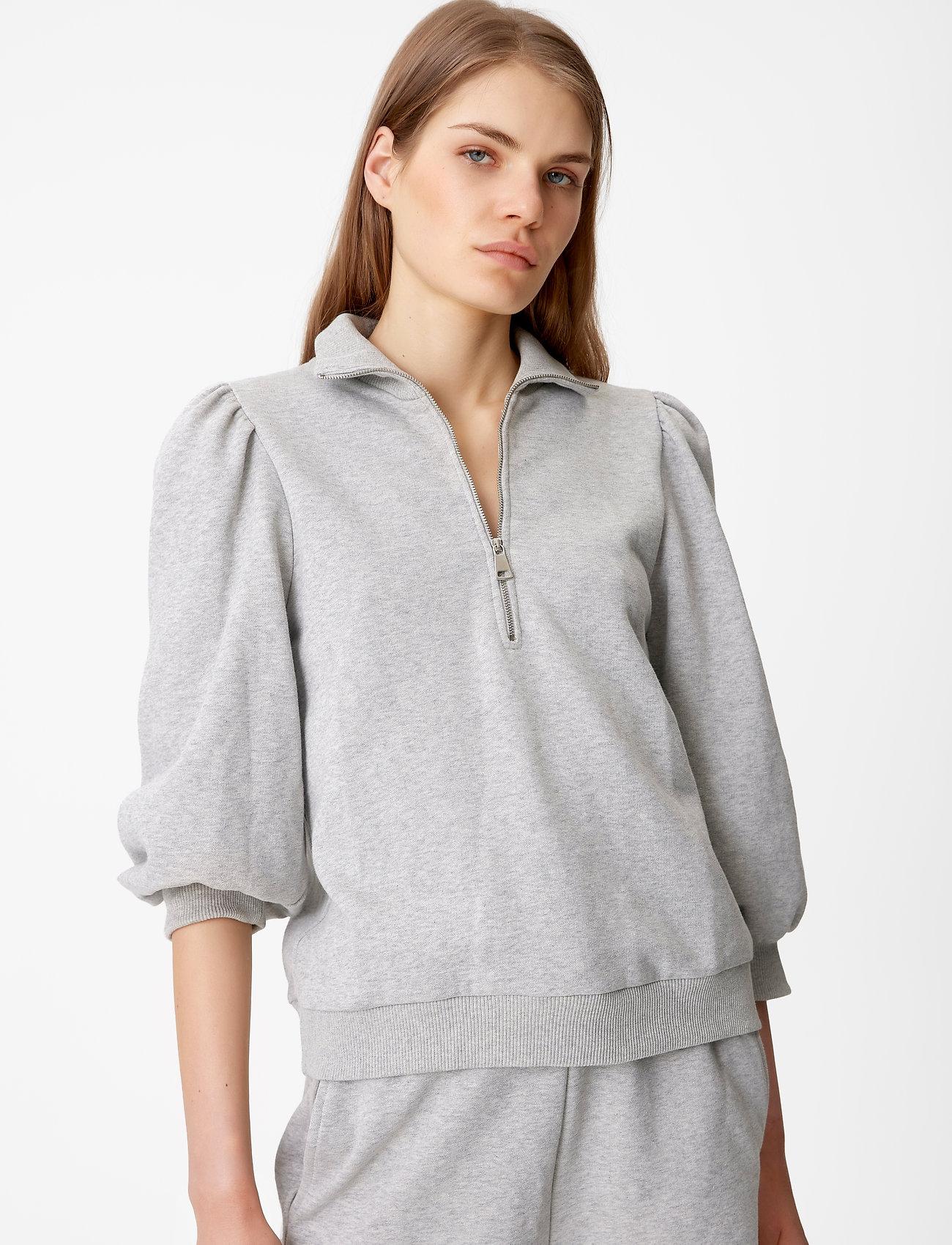 Gestuz - NankitaGZ ss zipper sweatshirt - sweatshirts & hoodies - light grey melange - 0