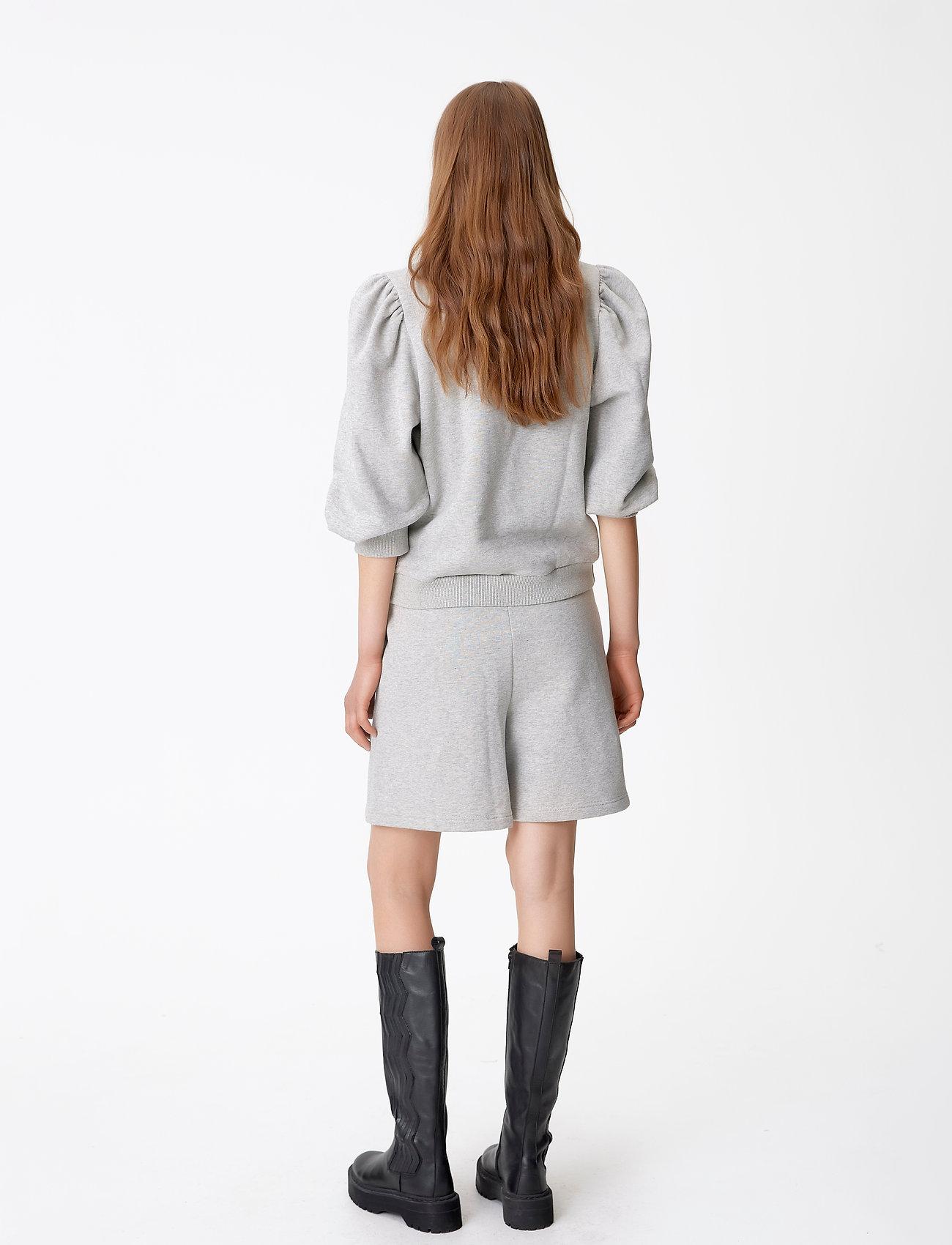 Gestuz - NankitaGZ ss zipper sweatshirt - sweatshirts & hoodies - light grey melange - 3