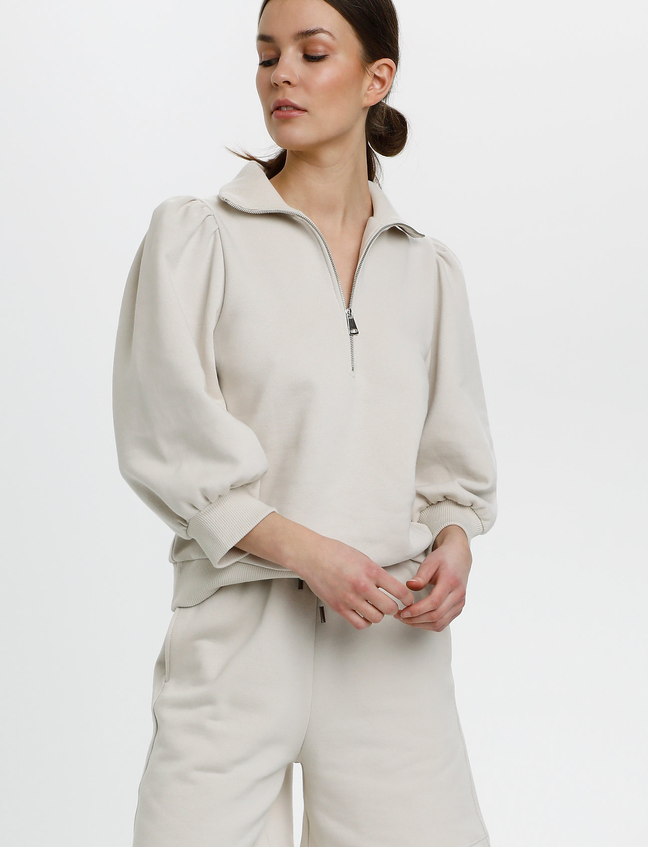 Gestuz - NankitaGZ ss zipper sweatshirt - sweatshirts & hoodies - moonbeam - 0