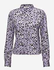 Gestuz - Leopa shirt MA18 - long sleeved blouses - purple leopard - 0