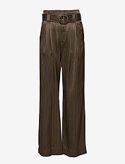 Gestuz - Strika pants MA18 - wide leg trousers - brown stribe - 0