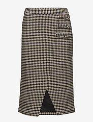 Gestuz - Welle check skirt - midi skirts - off white/cognac - 0