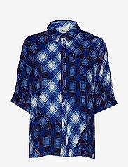 Gestuz - LuanneGZ shirt MA19 - lyhythihaiset puserot - blue check - 1