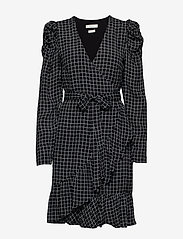 Gestuz - DeniceGZ wrap dress MA19 - kietaisumekot - black/white check - 1