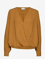 Gestuz - CeniaGZ wrap blouse SO20 - langærmede bluser - bone brown - 1