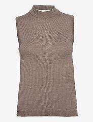 Gestuz - ThelmaGZ duo knit SO21 - cardigans - dark sand melange - 2