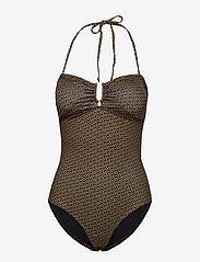 Gestuz - KellyGZ open bk swimsuit - badedragter - brown logo - 1