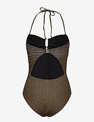 Gestuz - KellyGZ open bk swimsuit - badedragter - brown logo - 2