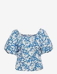 Gestuz - MynteGZ blouse - kortærmede bluser - blue flower - 1