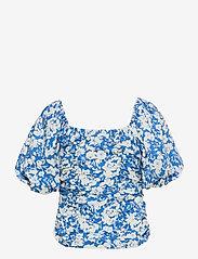 Gestuz - MynteGZ blouse - kortærmede bluser - blue flower - 2
