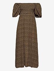 Gestuz - LifGZ long dress - sommerkjoler - brown mini leo - 3