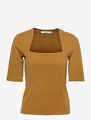 Gestuz - MalbaGZ squareneck tee - t-shirts - bone brown - 1