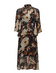 Fergie long dress MA17 - MULTI BLACK FLOWER