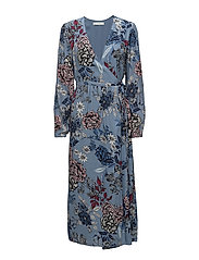 Begonia wrap dress MS18 - LIGHT BLUE FLOWER