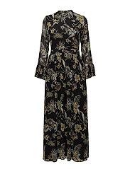 Maui long dress MS18 - BLACK PALM