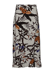 Greye long skirt HS 18 - GREY FLOWER PRINT