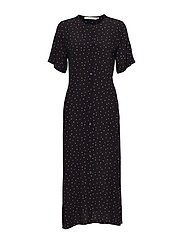 Harper midi dress AO18 - BLACK/PURPLE DOT