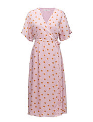 Elsie wrap dress ZE2 18 - PINK ORANGE DOT