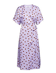 Elsie wrap dress ZE2 18 - PURPLE/CARAMEL DOT