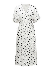 Elsie wrap dress ZE2 18 - WHITE NAVY DOT