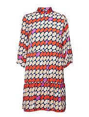 Mesula dress MS19 - RED/PURPLE TILE